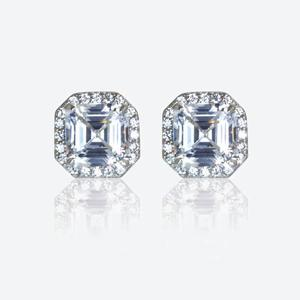 The Mirabella Sterling Silver DiamonFlash<sup>&reg;</sup> Cubic Zirconia Stud Earrings