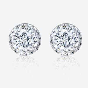 Roxy Real Sterling Silver Crystal Dome Stud Earrings