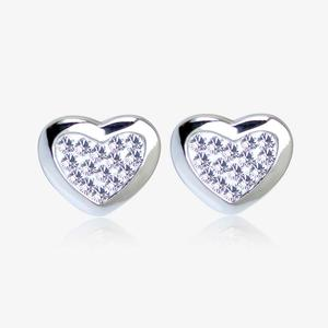 Tania Sterling Silver Heart Earrings Made With Swarovski<sup>&reg;</sup> Crystals