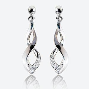 Tamara Real Sterling Silver And Diamond Earrings