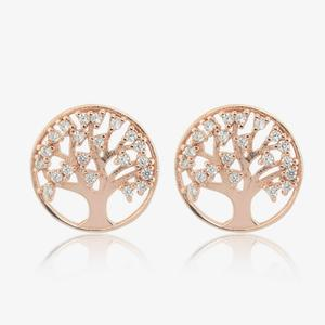 Sterling Silver Life's Tree Stud Earrings With Rose Gold Finish