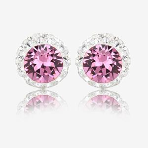 Rose Pink Sterling Silver Earrings Made With Swarovski® Crystals.