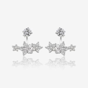 Sterling Silver Jacket Earrings With DiamonFlash® Cubic Zirconia
