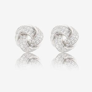 Sterling Silver DiamonFlash<sup>&reg;</sup> Cubic Zirconia Knot Earrings