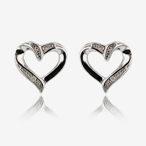 Sterling Silver Diamond Heart Earring