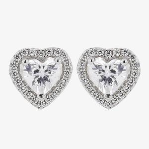 Naomi Sterling Silver Diamonflash<sup>&reg;</sup> Cubic Zirconia Heart Earrings