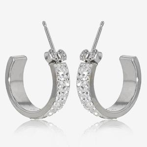 Sterling Silver Crystal Band Earrings