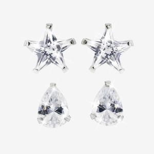 Set of 2 Pairs of DiamonFlash<sup>&reg;</sup> Cubic Zirconia Earrings