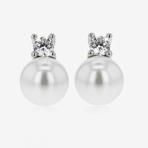 Sterling Silver Shell Pearl Stud Earrings