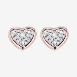 Tania Sterling Silver Rose Heart Earrings Made With Swarovski® Crystals