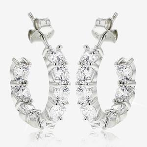 Sterling Silver DiamonFlash® Cubic Zirconia Band Earrings