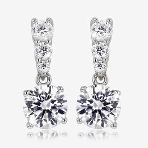 Sterling Silver DiamonFlash® Cubic Zirconia Solitaire Drop Earrings