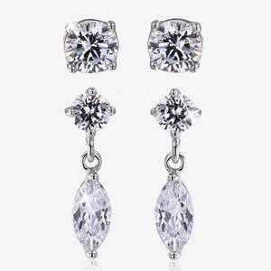 Silver CZ Set Of 2 Earrings