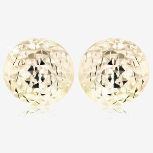 9ct Gold Sparkle Cut Circle Stud Earrings