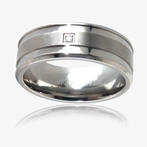 Men's Titanium Diamond Band Ring