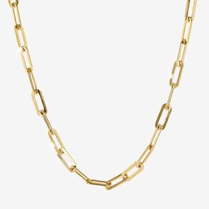 18ct Gold Vermeil on Silver Paper Clip Chain Necklace - Solid