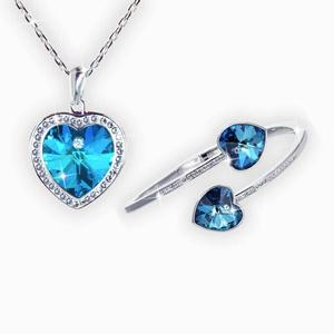 Swarovski® Crystals Blue Heart Bangle and Necklace Set