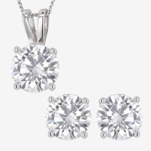 Sterling Silver DiamonFlash<sup>®</sup> Cubic Zirconia Necklace & Earrings
