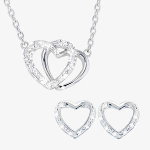 Heart Necklace and Earrings Set Made With Swarovski® Crystals