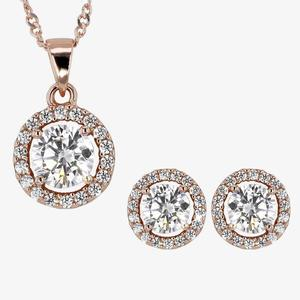 Silver Halo Rose Gold Finish Necklace and Earrings Set