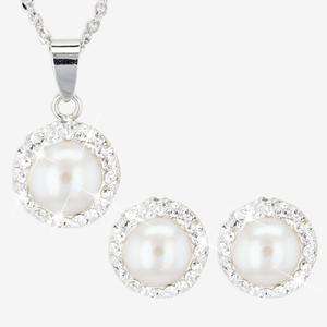 Silver Cultured Freshwater Pearl and Crystal Necklace and Earrings Set
