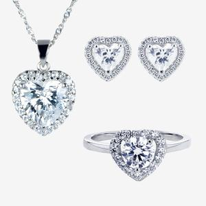 Silver CZ Heart Necklace, Earrings and Ring Set
