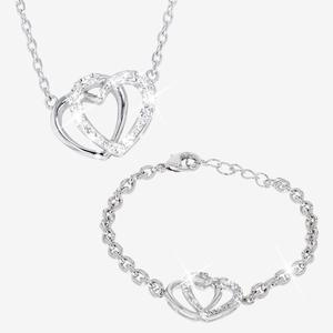 Swarovski® Crystals Double Heart Necklace and Bracelet Set