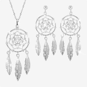Silver Dreamcatcher Necklace and Earrings Set