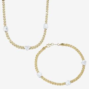 9ct Gold & Silver Bonded Rope and Heart Necklace and Bracelet