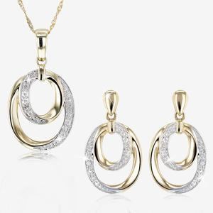 9ct Gold Diamond Necklace and Earrings Set