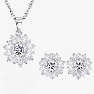Silver CZ Baguette Swirl Necklace and Earrings Set