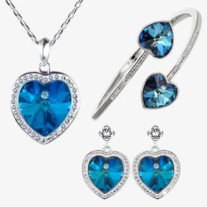 Swarovski® Crystals Blue Heart Necklace, Earrings and Bangle Set