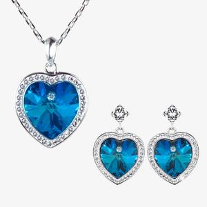 Swarovski® Crystals Blue Heart Necklace and Earrings Set
